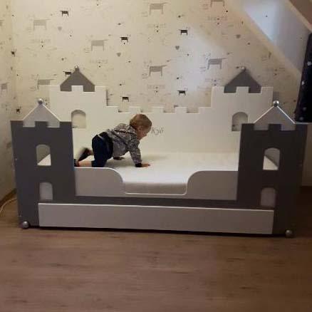 #1 jongensbed kasteelbed 90x200 cm grijs met wit