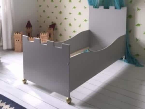 Jongensbed kasteelbed 70x150 cm cement-grijs kinderbedden kinderkamer