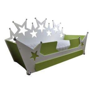 kinderbed sterrenbed bank 90x200 cm wit met groen en zilveren bolletjes