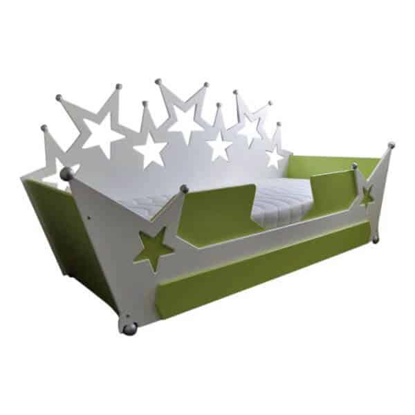 kinderbed tienerbed sterrenbed bank 90x200 cm wit met groen en zilveren bolletjes