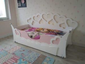 Kinderbed met hartjes wit 90x200 cm