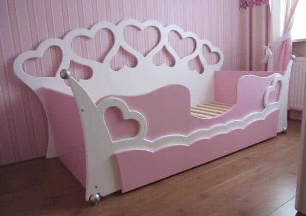 Hartjesbedbank 90x200 cm met lade wit - roze