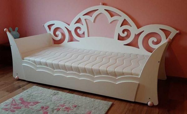 Nieuw in kinderbedden: prinsessenbed met lade 90x200 cm, wit met roze
