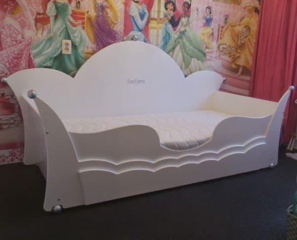 #1 Kinderbed meisjesbed 90x200 cm kroonbedbank wit