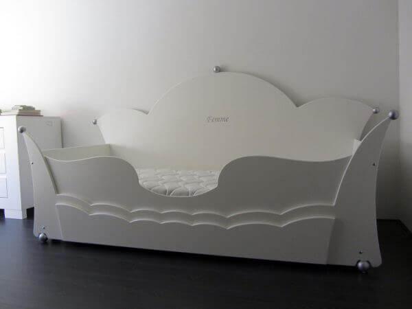 Prinsessenbed maat 90x200 cm, wit, met lade en uitrolbeveiliging, kroonbed meisjesbed