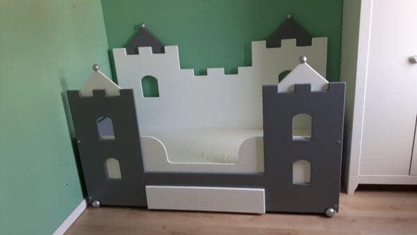jongensbed 70x150 cm kasteelbedbank kasteelbed wit antraciet