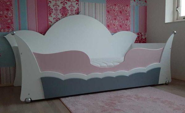 Nieuw in kinderbedden: prinsessenbed 90x200 cm, wit/roze/grijs combinatie, met lade en matras