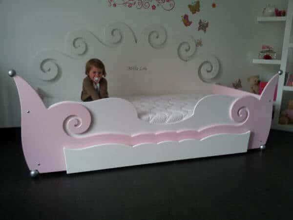 Meisjesbed 90x200 cm roze met wit