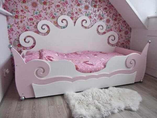 krullenbedbank 90x200 cm meisjesbed roze met wit