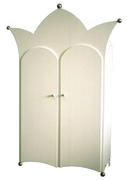 #8 kinderkast twee-deurs met kroon wit, voor een mooie kinderkamer