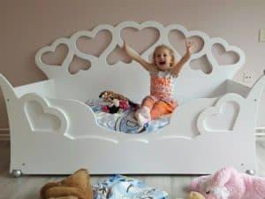 Kinderbed peuterbed met hartjes 70x150 cm wit