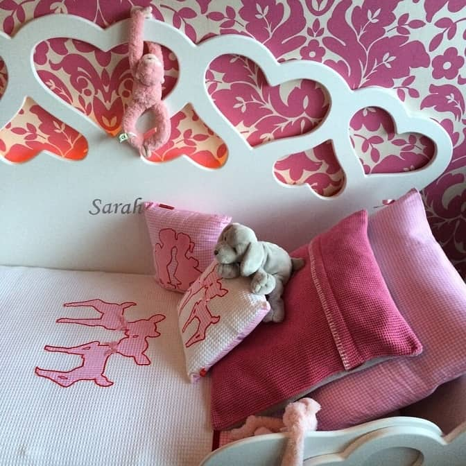 #11 kinderbed hartjesbed 70x150, kinderkamer decoratie met roze